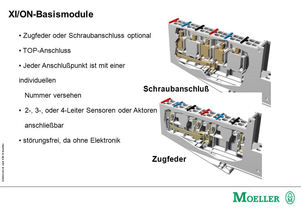 Schutzvermerk nach DIN 34 beachten Zugfeder oder Schraubanschluss optional TOP-Anschluss Jeder Anschlußpunkt ist mit einer individuellen Nummer versehen 2-, 3-, oder 4-Leiter Sensoren oder Aktoren anschließbar störungsfrei, da ohne Elektronik Schraubanschluß Zugfeder XI/ON-Basismodule