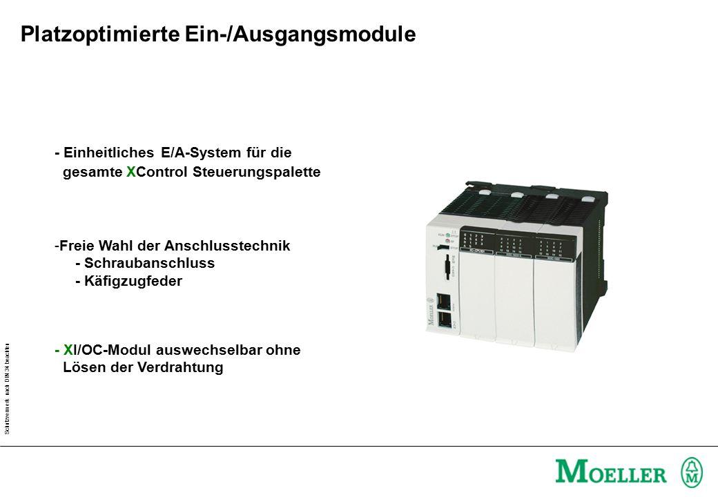 Schutzvermerk nach DIN 34 beachten - Einheitliches E/A-System für die gesamte XControl Steuerungspalette - XI/OC-Modul auswechselbar ohne Lösen der Verdrahtung -Freie Wahl der Anschlusstechnik - Schraubanschluss - Käfigzugfeder Platzoptimierte Ein-/Ausgangsmodule