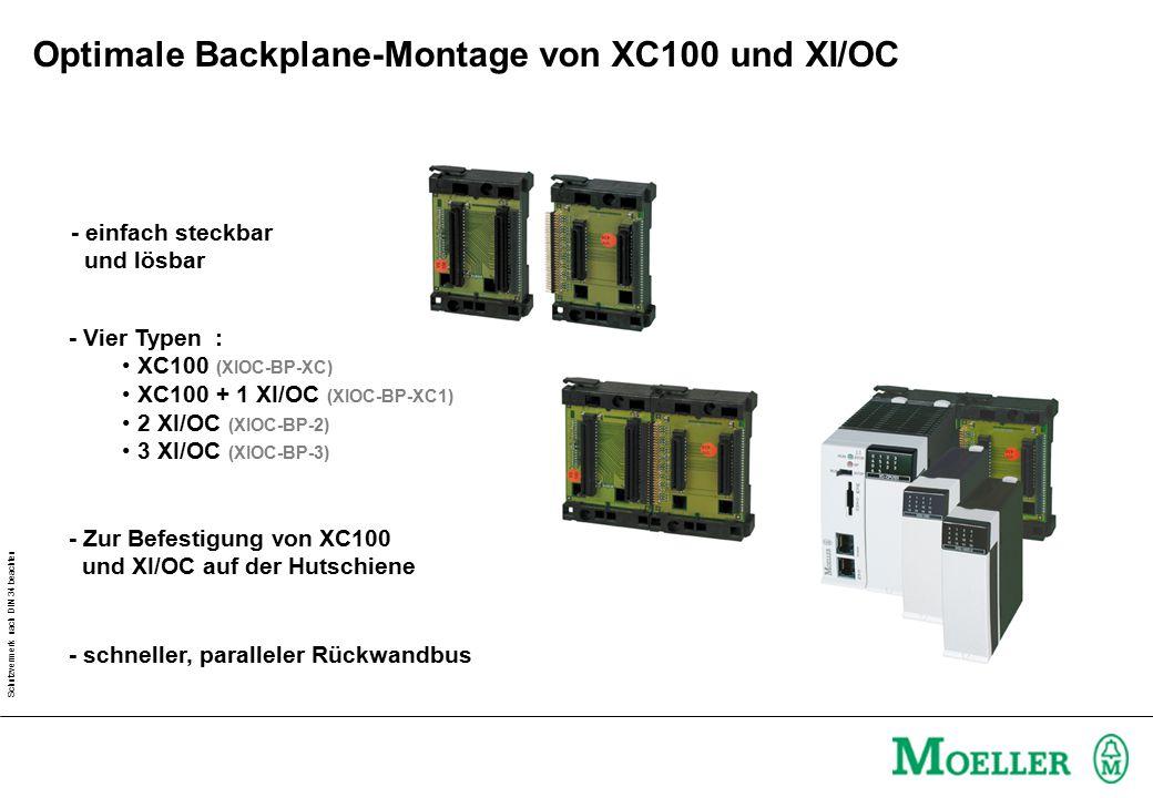Schutzvermerk nach DIN 34 beachten - Zur Befestigung von XC100 und XI/OC auf der Hutschiene - schneller, paralleler Rückwandbus - Vier Typen : XC100 (XIOC-BP-XC) XC100 + 1 XI/OC (XIOC-BP-XC1) 2 XI/OC (XIOC-BP-2) 3 XI/OC (XIOC-BP-3) - einfach steckbar und lösbar Optimale Backplane-Montage von XC100 und XI/OC
