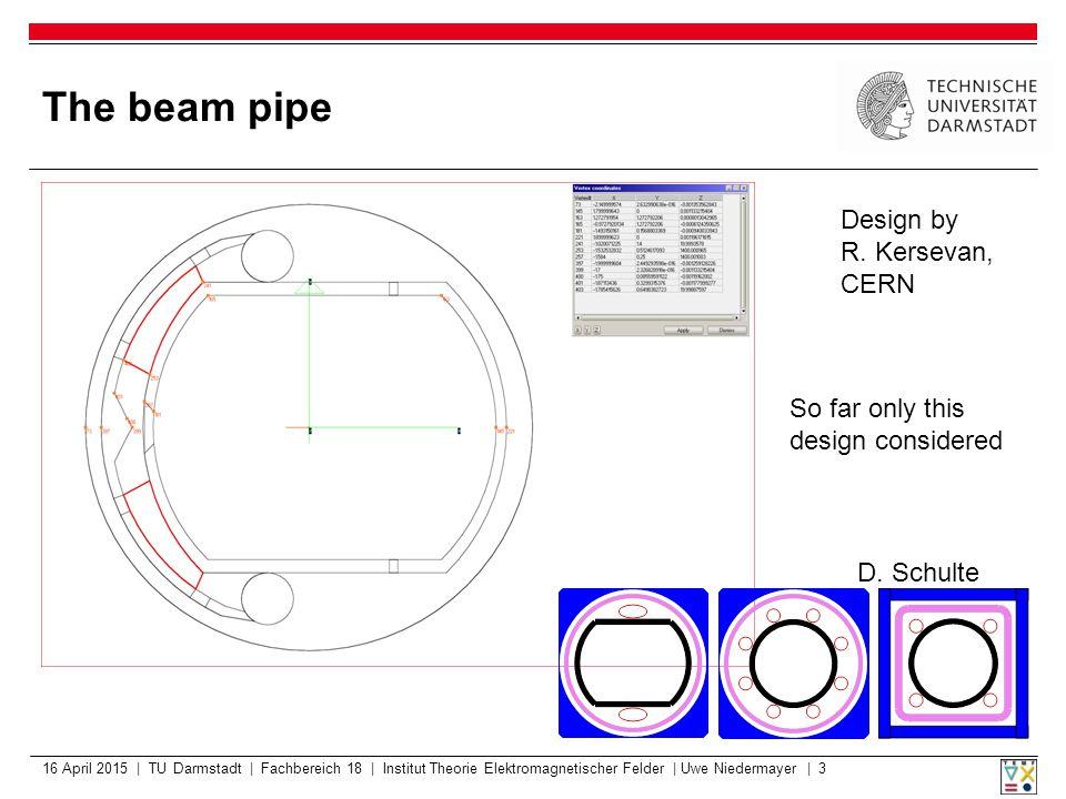 The beam pipe 16 April 2015 | TU Darmstadt | Fachbereich 18 | Institut Theorie Elektromagnetischer Felder | Uwe Niedermayer | 3 Design by R.