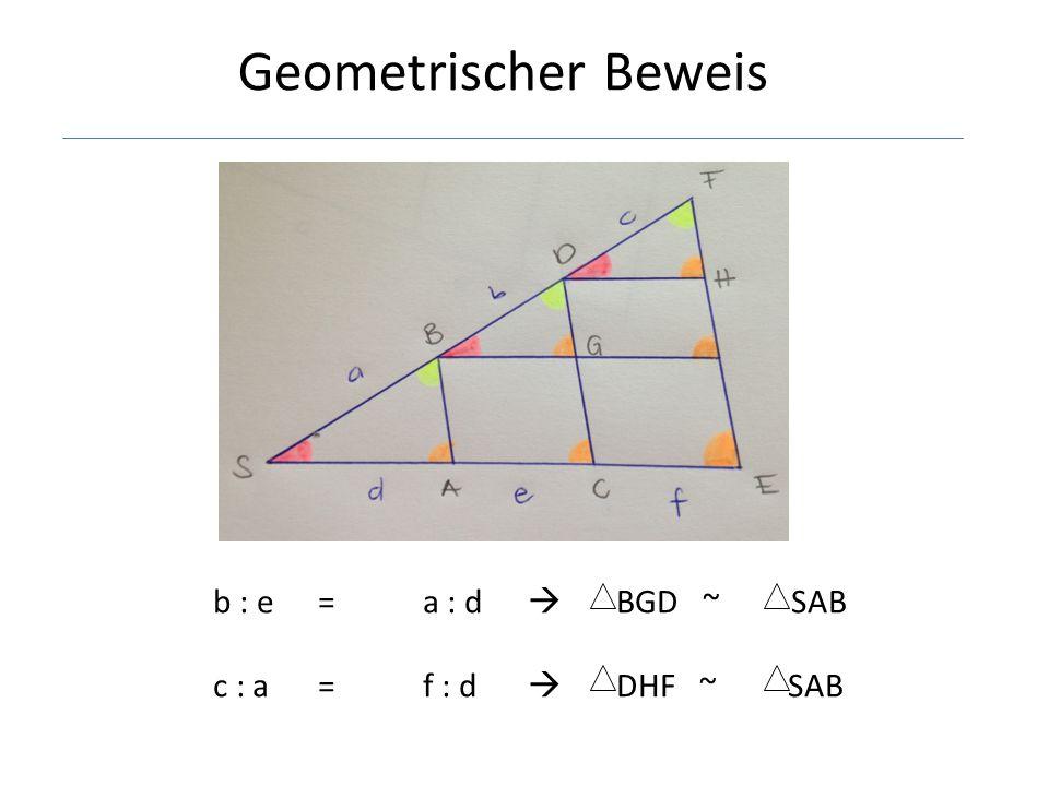 b : e=a : d  BGD ~ SAB c : a=f : d  DHF ~ SAB