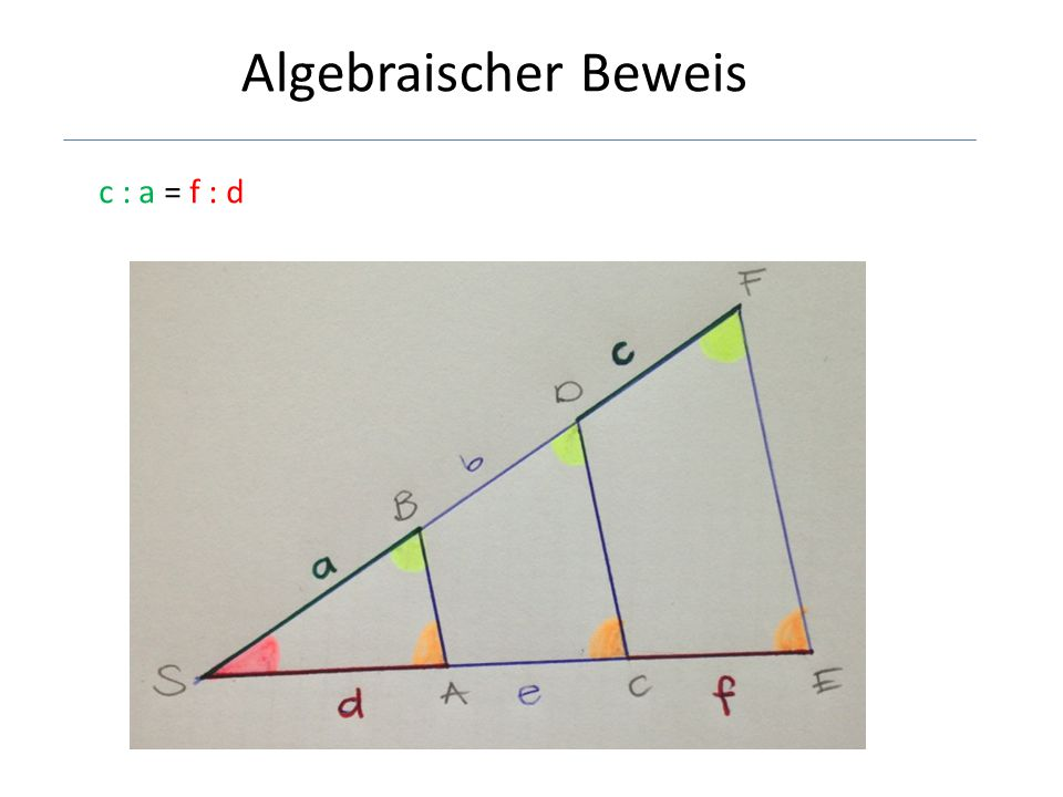 Algebraischer Beweis c : a = f : d