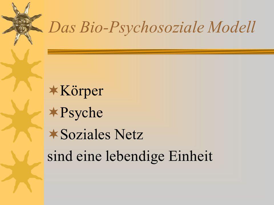 Das Bio-Psychosoziale Modell  Körper  Psyche  Soziales Netz sind eine lebendige Einheit