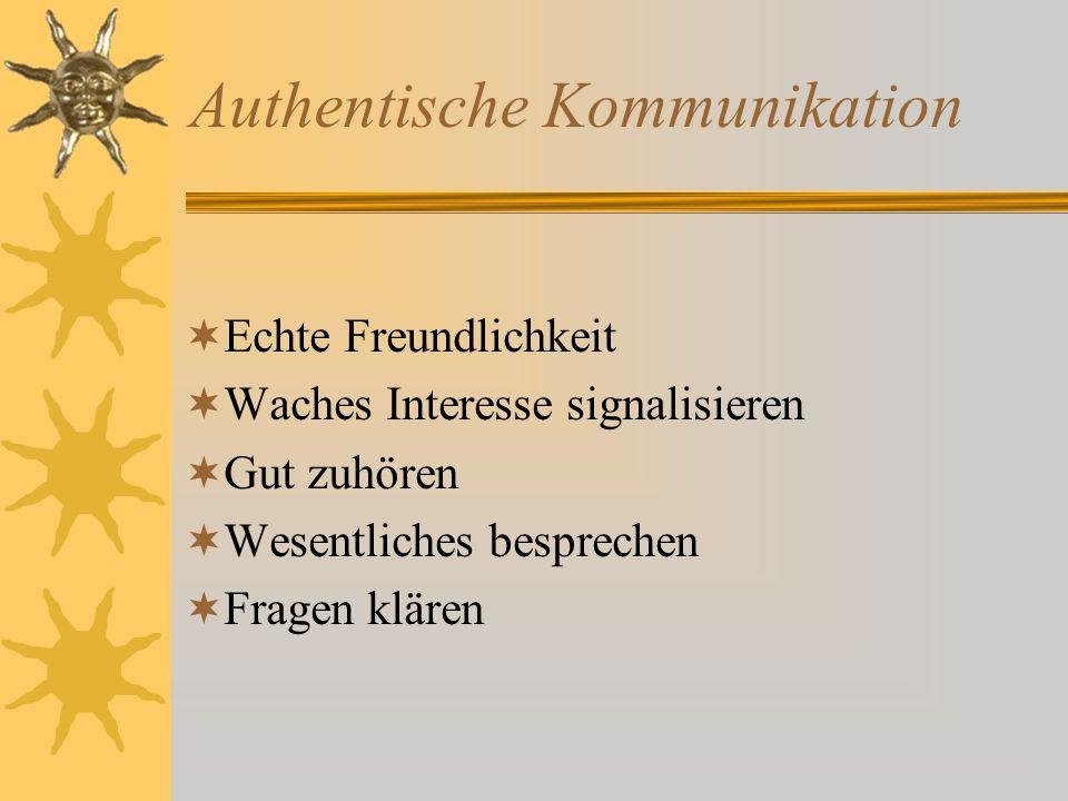Authentische Kommunikation  Echte Freundlichkeit  Waches Interesse signalisieren  Gut zuhören  Wesentliches besprechen  Fragen klären