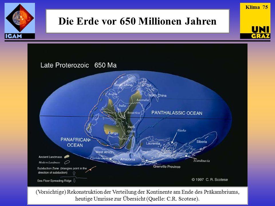 Die Erde vor 650 Millionen Jahren (Vorsichtige) Rekonstruktion der Verteilung der Kontinente am Ende des Präkambriums, heutige Umrisse zur Übersicht (