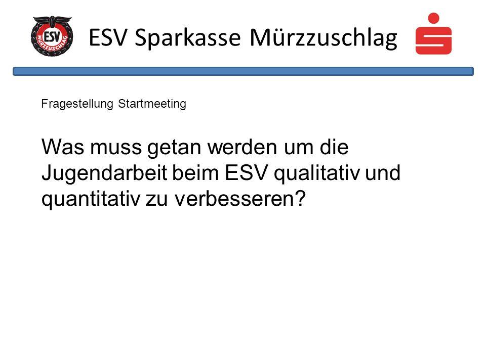 ESV Sparkasse Mürzzuschlag Fragestellung Startmeeting Was muss getan werden um die Jugendarbeit beim ESV qualitativ und quantitativ zu verbesseren