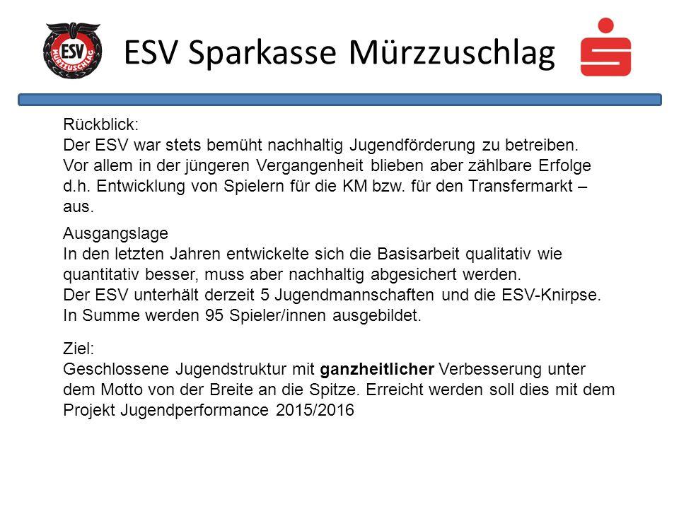 ESV Sparkasse Mürzzuschlag Ausgangslage In den letzten Jahren entwickelte sich die Basisarbeit qualitativ wie quantitativ besser, muss aber nachhaltig abgesichert werden.