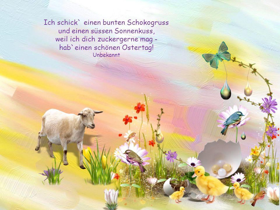 Frühling wird es weit und breit, und die Häschen steh'n bereit. Sie bringen zu der Osterfeier viele bunt bemalte Eier. Unbekannt