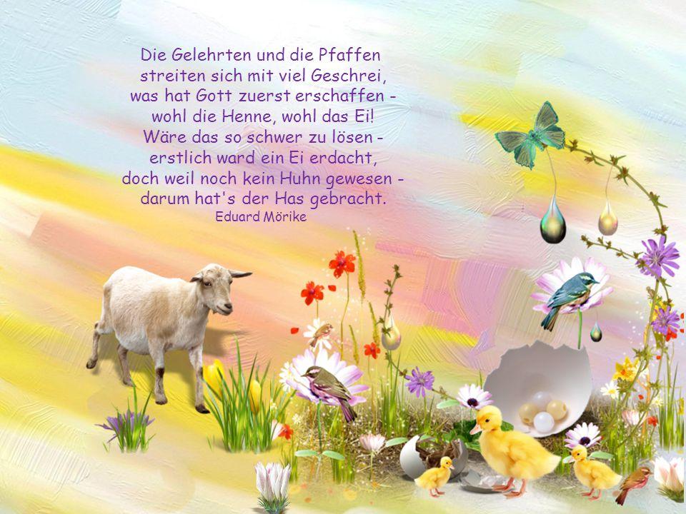 Bunte Eier, Frühlingslüfte, Sonnenschein und Bratendüfte; heiterer Sinn und Festtagsfrieden alles das, sei euch beschieden! Frohe Ostern! Unbekannt