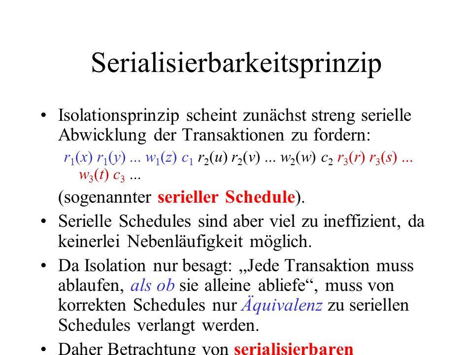 Serialisierbarkeitsprinzip Isolationsprinzip scheint zunächst streng serielle Abwicklung der Transaktionen zu fordern: r 1 (x) r 1 (y)...