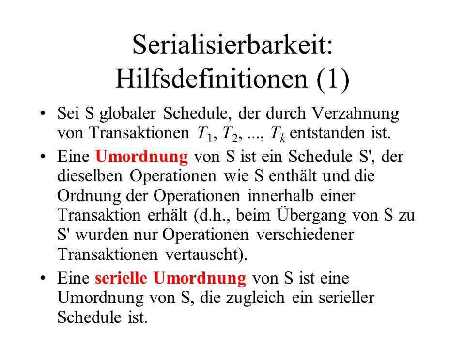 Serialisierbarkeit: Hilfsdefinitionen (1) Sei S globaler Schedule, der durch Verzahnung von Transaktionen T 1, T 2,..., T k entstanden ist.