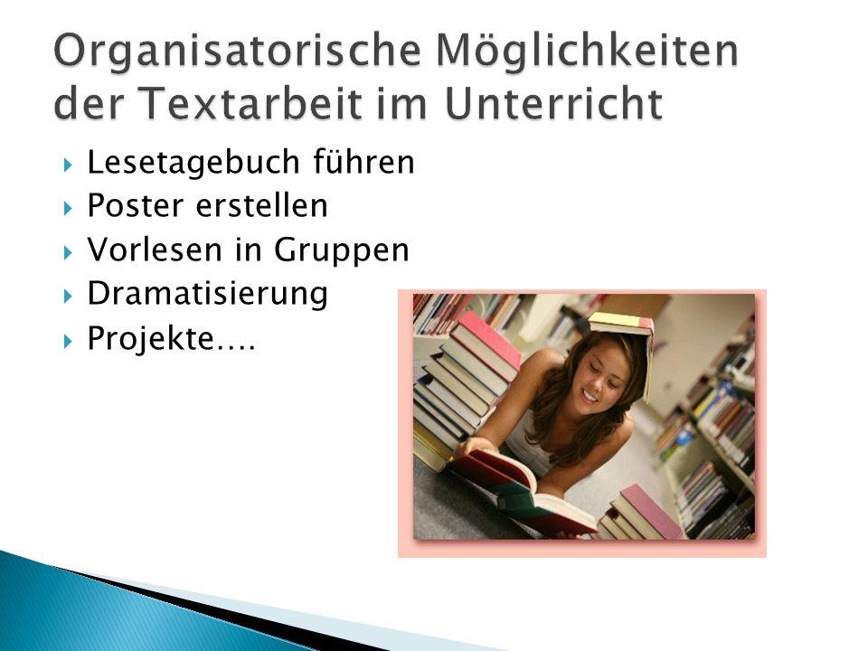  Lesetagebuch führen  Poster erstellen  Vorlesen in Gruppen  Dramatisierung  Projekte ….