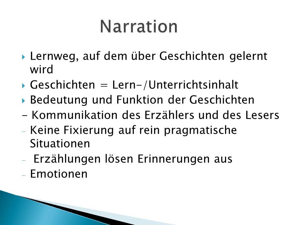  Lernweg, auf dem über Geschichten gelernt wird  Geschichten = Lern-/Unterrichtsinhalt  Bedeutung und Funktion der Geschichten - Kommunikation des