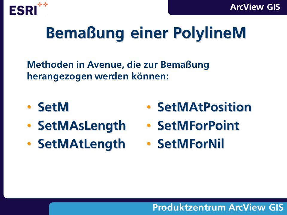 ArcView GIS Produktzentrum ArcView GIS SetM SetM SetMAsLength SetMAsLength SetMAtLength SetMAtLength SetMAtPosition SetMAtPosition SetMForPoint SetMFo