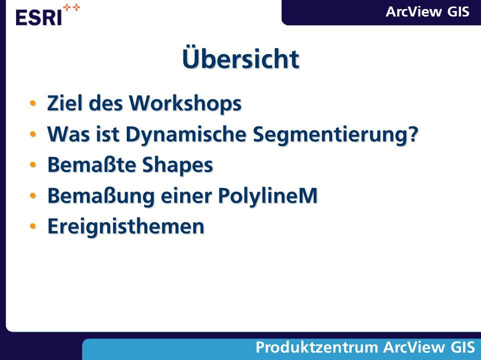 ArcView GIS Produktzentrum ArcView GIS Ziel des Workshops Ziel des Workshops Was ist Dynamische Segmentierung? Was ist Dynamische Segmentierung? Bemaß