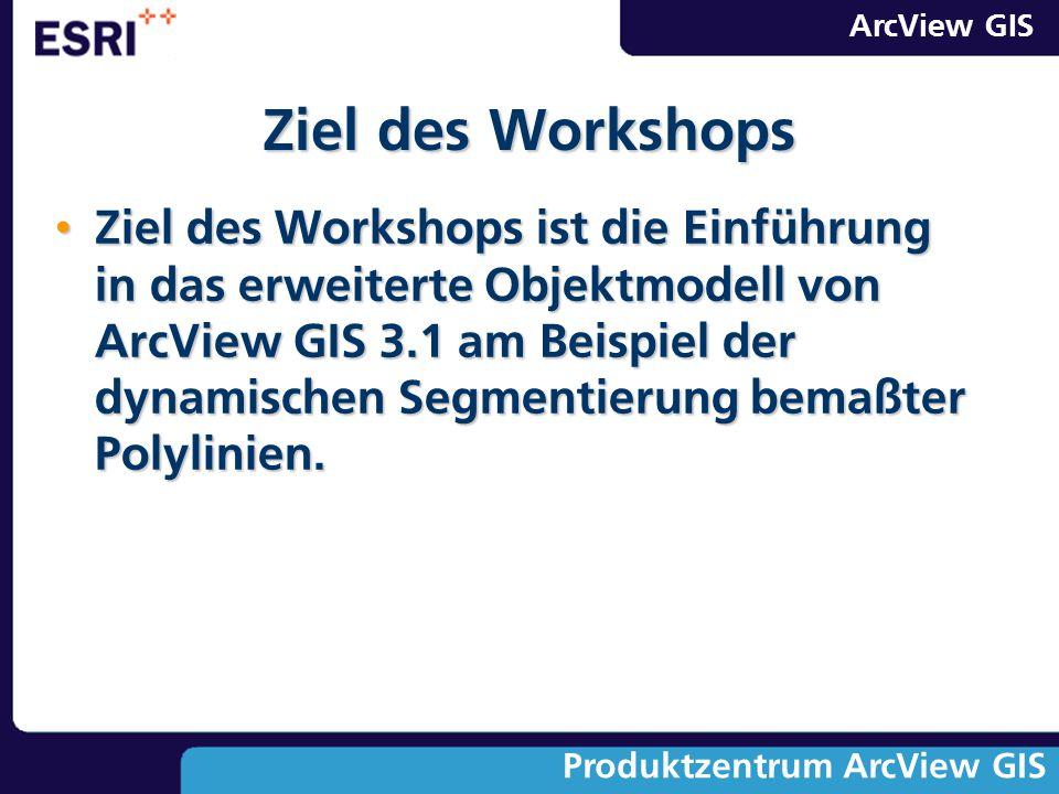 ArcView GIS Produktzentrum ArcView GIS Ziel des Workshops Ziel des Workshops ist die Einführung in das erweiterte Objektmodell von ArcView GIS 3.1 am
