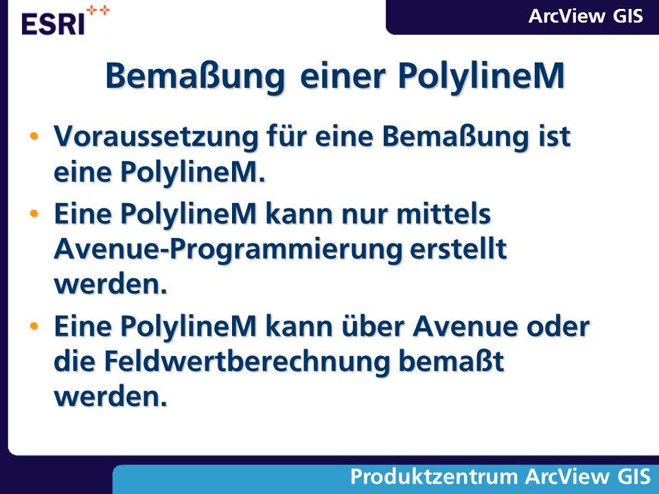 ArcView GIS Produktzentrum ArcView GIS Voraussetzung für eine Bemaßung ist eine PolylineM. Voraussetzung für eine Bemaßung ist eine PolylineM. Eine Po