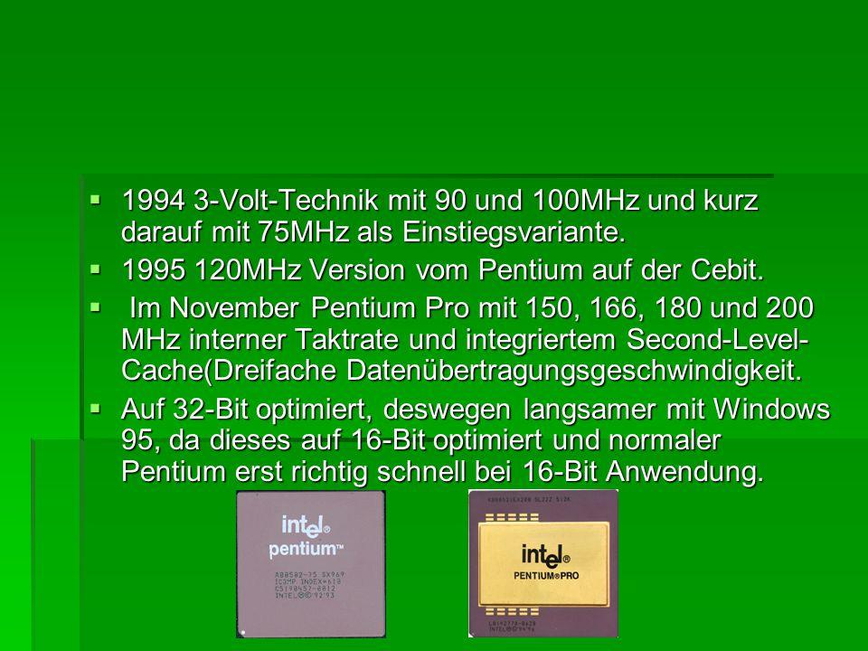  1994 3-Volt-Technik mit 90 und 100MHz und kurz darauf mit 75MHz als Einstiegsvariante.  1995 120MHz Version vom Pentium auf der Cebit.  Im Novembe
