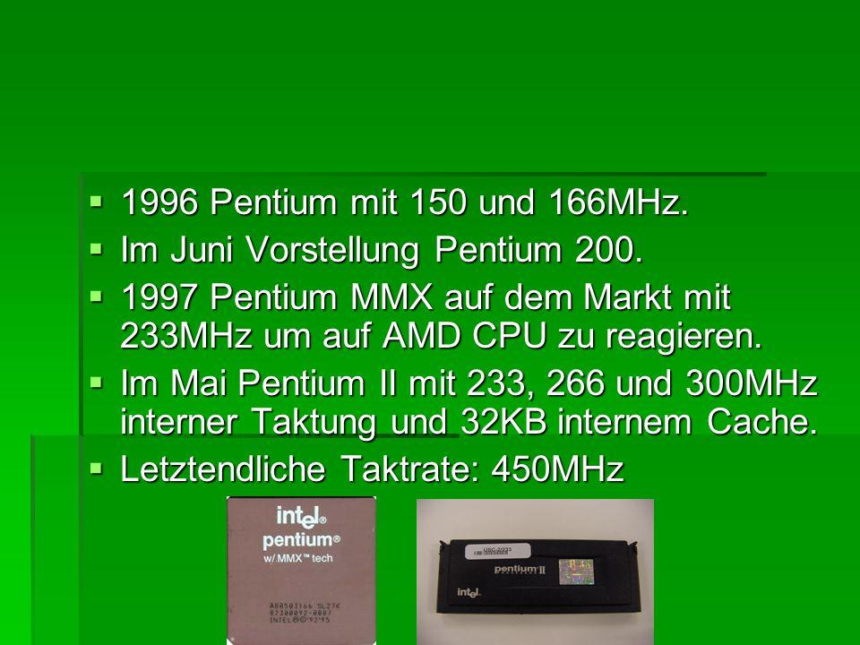  1996 Pentium mit 150 und 166MHz.  Im Juni Vorstellung Pentium 200.  1997 Pentium MMX auf dem Markt mit 233MHz um auf AMD CPU zu reagieren.  Im Ma