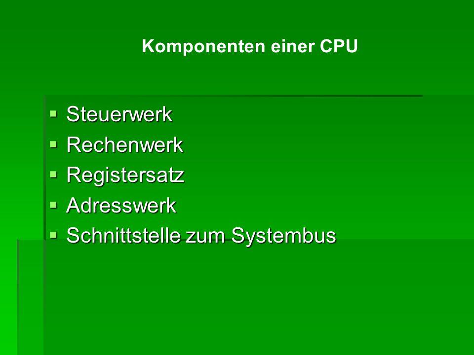  Steuerwerk  Rechenwerk  Registersatz  Adresswerk  Schnittstelle zum Systembus Komponenten einer CPU