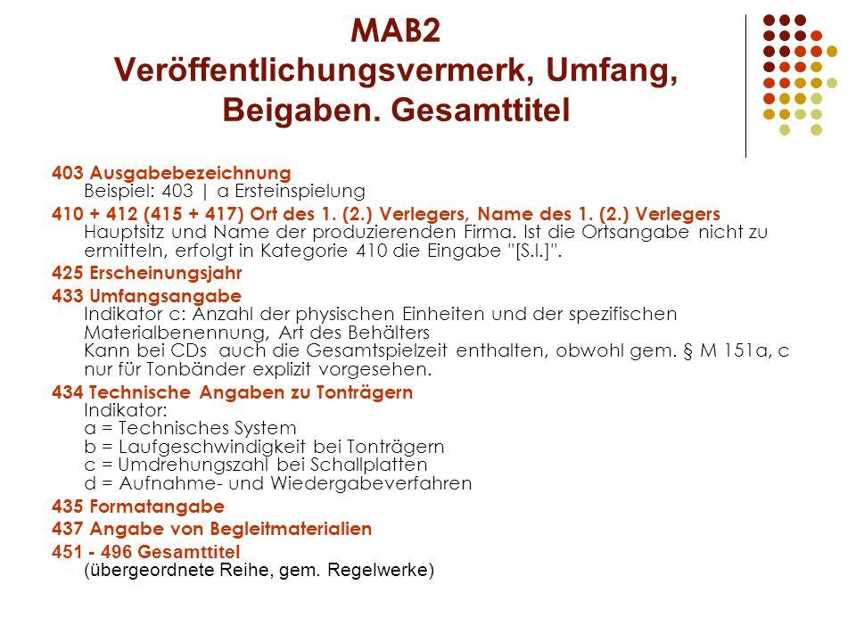 MAB2 Veröffentlichungsvermerk, Umfang, Beigaben.