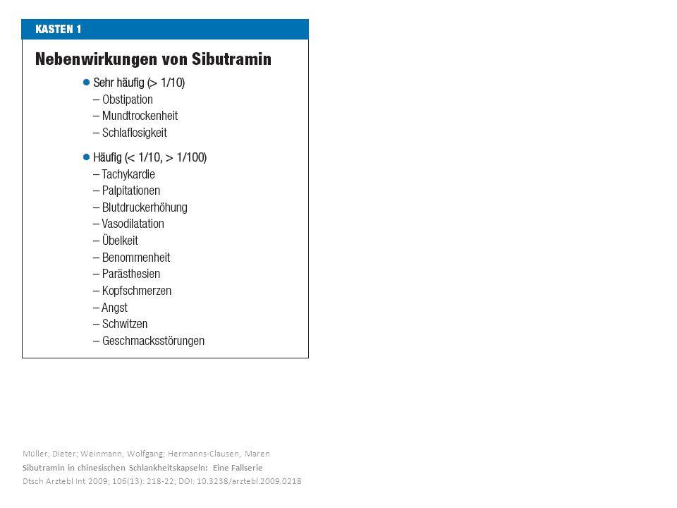 Müller, Dieter; Weinmann, Wolfgang; Hermanns-Clausen, Maren Sibutramin in chinesischen Schlankheitskapseln: Eine Fallserie Dtsch Arztebl Int 2009; 106(13): 218-22; DOI: 10.3238/arztebl.2009.0218