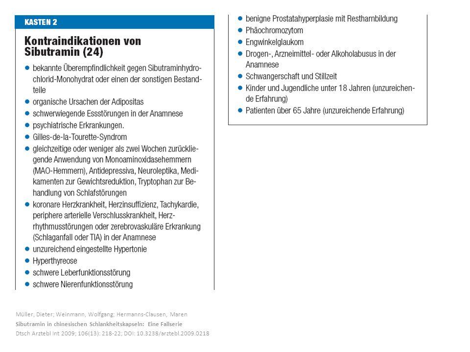 Müller, Dieter; Weinmann, Wolfgang; Hermanns-Clausen, Maren Sibutramin in chinesischen Schlankheitskapseln: Eine Fallserie Dtsch Arztebl Int 2009; 106