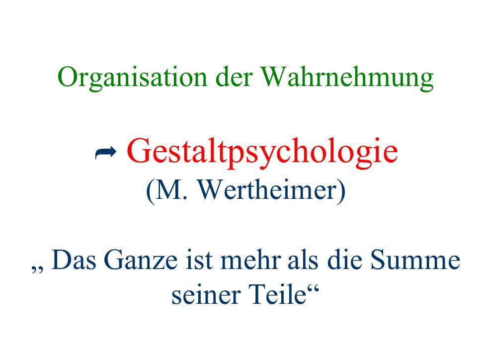 """Organisation der Wahrnehmung  Gestaltpsychologie (M. Wertheimer) """" Das Ganze ist mehr als die Summe seiner Teile"""""""