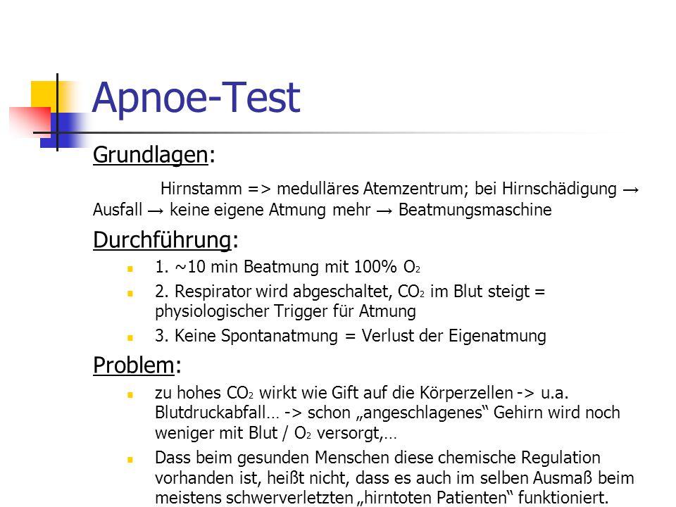 Apnoe-Test Grundlagen: Hirnstamm => medulläres Atemzentrum; bei Hirnschädigung → Ausfall → keine eigene Atmung mehr → Beatmungsmaschine Durchführung: 1.