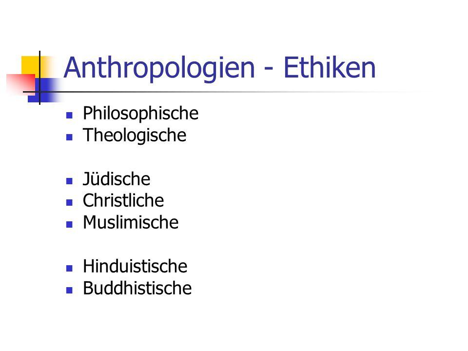 Anthropologien - Ethiken Philosophische Theologische Jüdische Christliche Muslimische Hinduistische Buddhistische