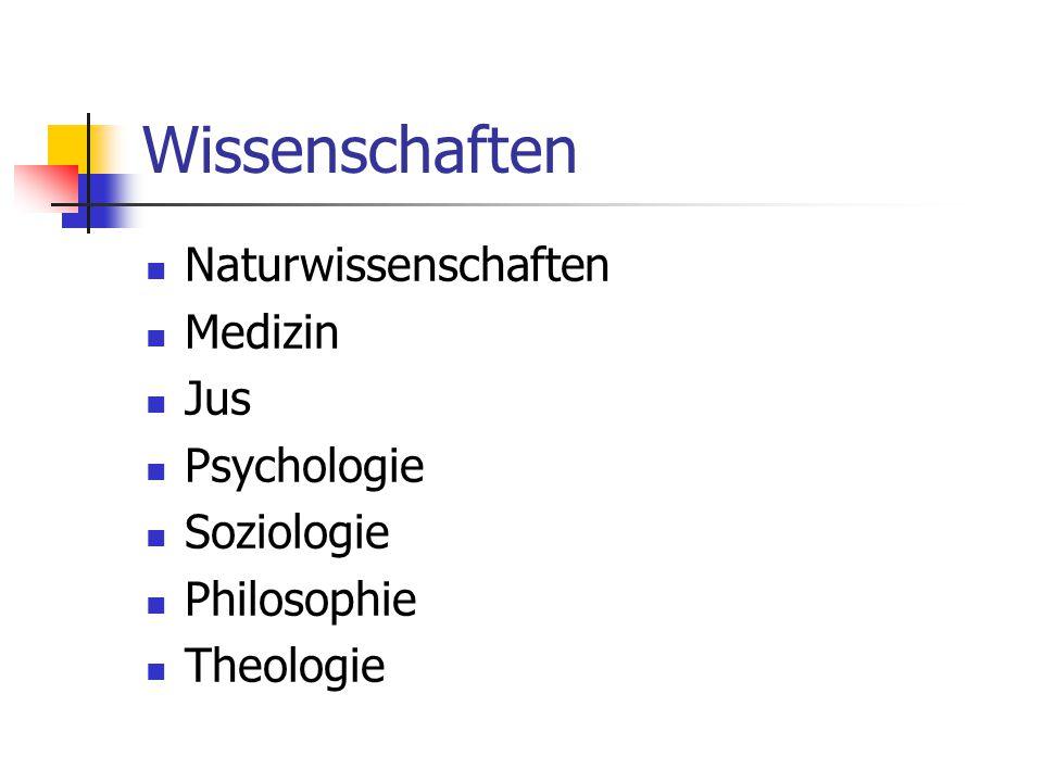 Wissenschaften Naturwissenschaften Medizin Jus Psychologie Soziologie Philosophie Theologie