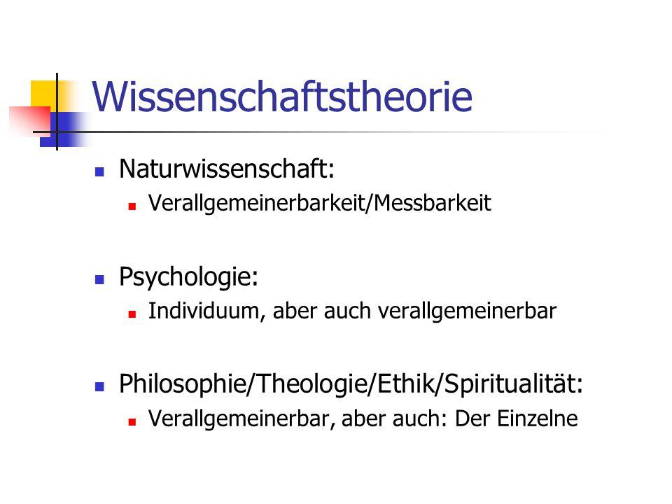 Wissenschaftstheorie Naturwissenschaft: Verallgemeinerbarkeit/Messbarkeit Psychologie: Individuum, aber auch verallgemeinerbar Philosophie/Theologie/Ethik/Spiritualität: Verallgemeinerbar, aber auch: Der Einzelne