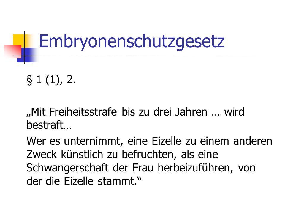 Embryonenschutzgesetz § 1 (1), 2.