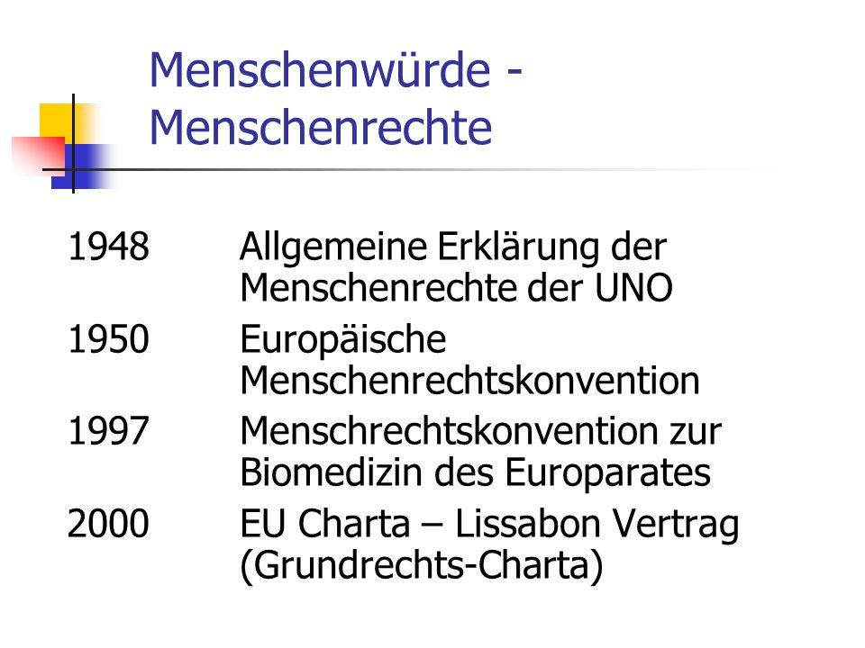 Menschenwürde - Menschenrechte 1948Allgemeine Erklärung der Menschenrechte der UNO 1950Europäische Menschenrechtskonvention 1997Menschrechtskonvention zur Biomedizin des Europarates 2000EU Charta – Lissabon Vertrag (Grundrechts-Charta)