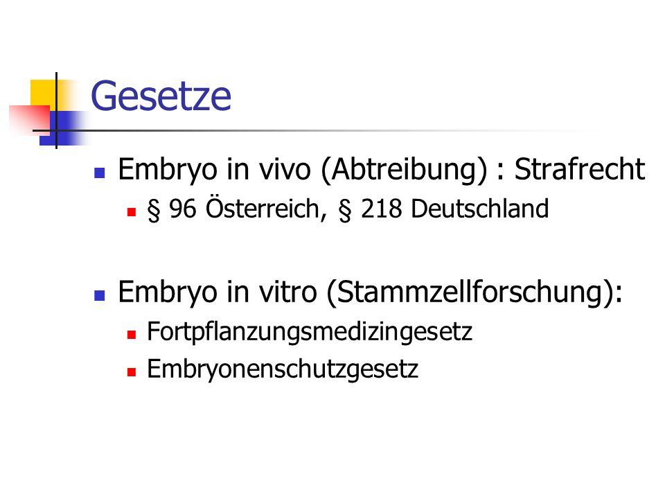 Gesetze Embryo in vivo (Abtreibung) : Strafrecht § 96 Österreich, § 218 Deutschland Embryo in vitro (Stammzellforschung): Fortpflanzungsmedizingesetz Embryonenschutzgesetz