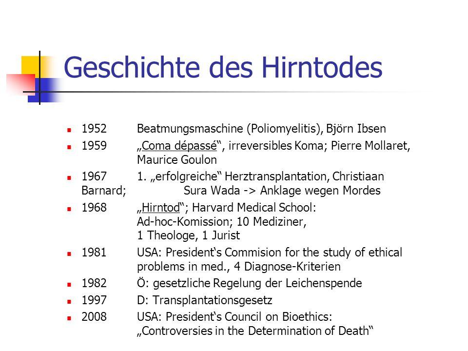 """Geschichte des Hirntodes 1952 Beatmungsmaschine (Poliomyelitis), Björn Ibsen 1959 """"Coma dépassé , irreversibles Koma; Pierre Mollaret, Maurice Goulon 1967 1."""