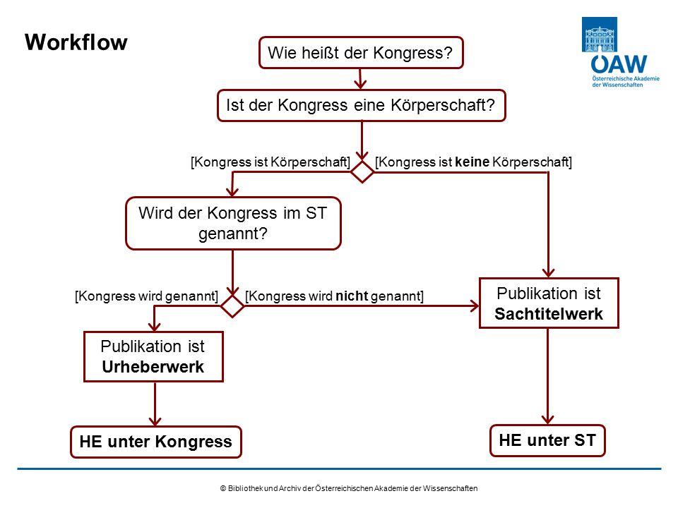 © Bibliothek und Archiv der Österreichischen Akademie der Wissenschaften Workflow Wie heißt der Kongress? [Kongress ist Körperschaft] HE unter ST Ist