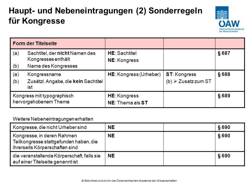 © Bibliothek und Archiv der Österreichischen Akademie der Wissenschaften Haupt- und Nebeneintragungen (2) Sonderregeln für Kongresse Form der Titelsei