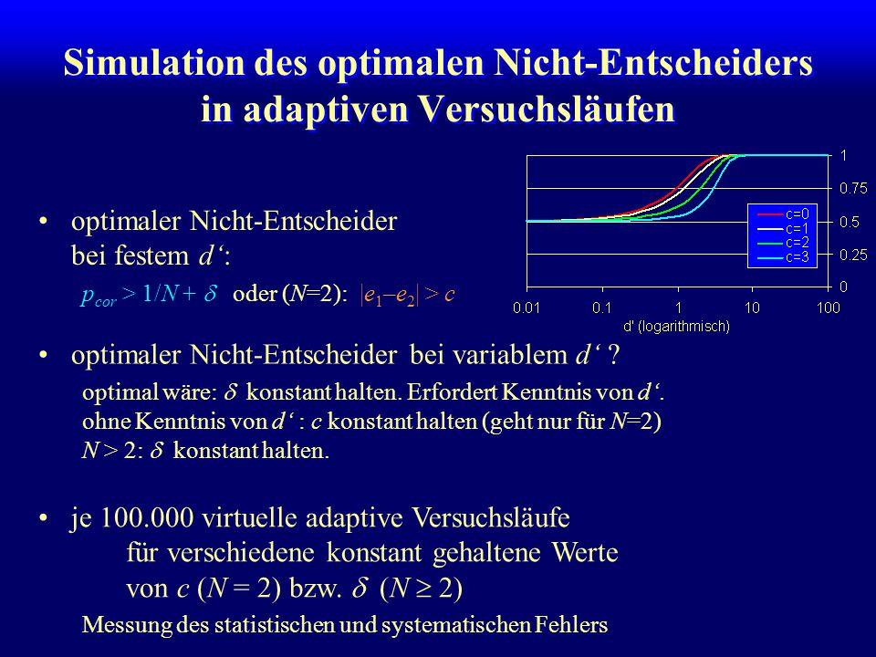 Simulation des optimalen Nicht-Entscheiders in adaptiven Versuchsläufen optimaler Nicht-Entscheider bei festem d': p cor > 1/N +  oder (N=2): |e 1 –e 2 | > c optimaler Nicht-Entscheider bei variablem d' .
