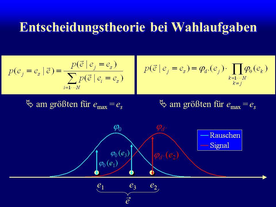 Entscheidungstheorie bei Wahlaufgaben  am größten für e max = e s e2e2 e3e3 e1e1 (e 2 )  d' (e 2 ) (e 3 )  0 (e 3 ) (e 1 )  0 (e 1 ) e  am größten für e max = e s  d' 00