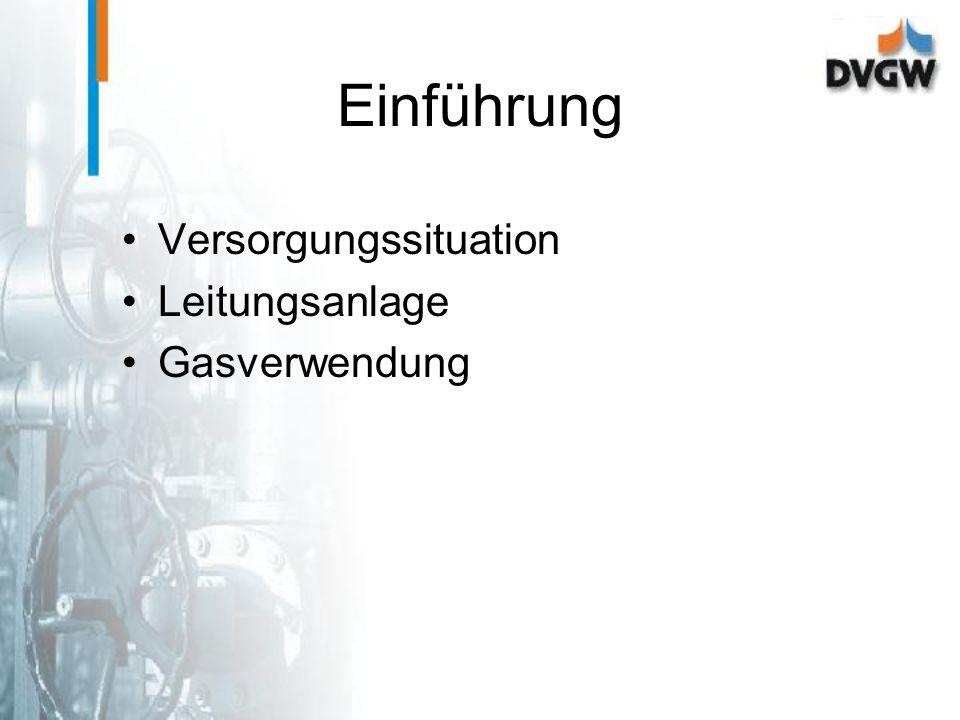 Einführung Versorgungssituation Leitungsanlage Gasverwendung