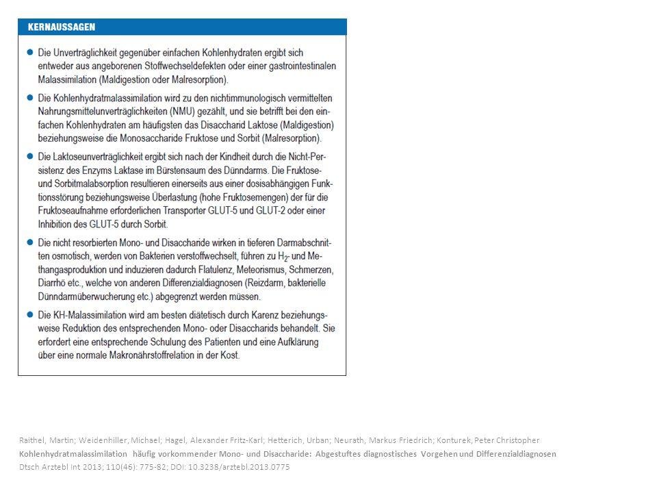 Raithel, Martin; Weidenhiller, Michael; Hagel, Alexander Fritz-Karl; Hetterich, Urban; Neurath, Markus Friedrich; Konturek, Peter Christopher Kohlenhydratmalassimilation häufig vorkommender Mono- und Disaccharide: Abgestuftes diagnostisches Vorgehen und Differenzialdiagnosen Dtsch Arztebl Int 2013; 110(46): 775-82; DOI: 10.3238/arztebl.2013.0775