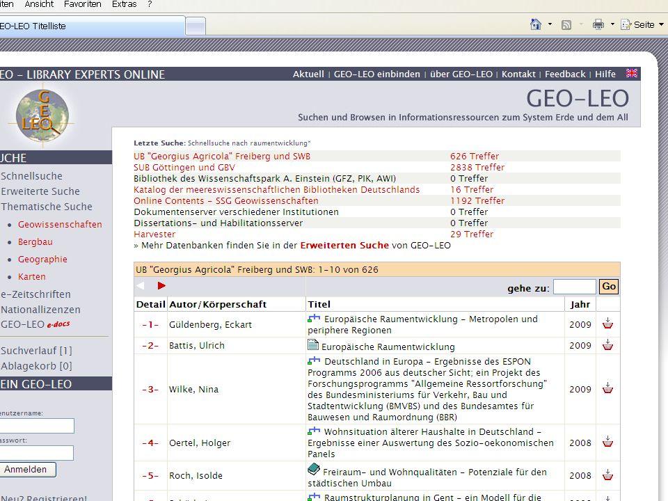 GEO-LEO Suche integrierbar in Mozilla/Firefox-Browser Suchfenster des Internet-Explorers 7 GEO-LEO-Sucheingabfeld direkt auf eigener Webseite