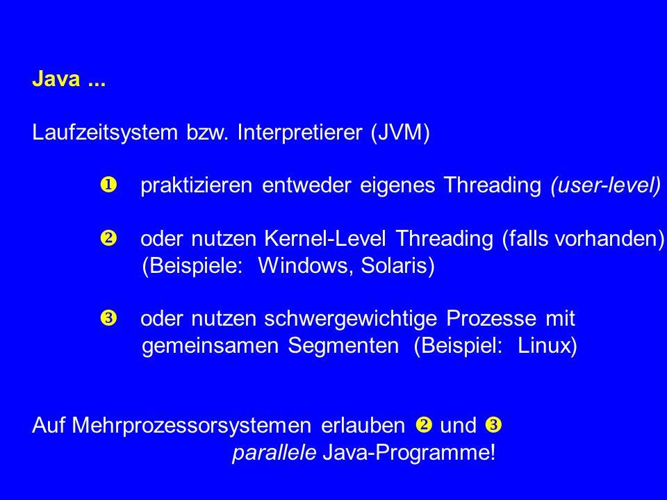 Java... Laufzeitsystem bzw. Interpretierer (JVM)  praktizieren entweder eigenes Threading (user-level)  oder nutzen Kernel-Level Threading (falls