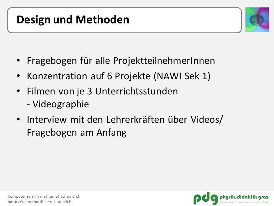 Design und Methoden Fragebogen für alle ProjektteilnehmerInnen Konzentration auf 6 Projekte (NAWI Sek 1) Filmen von je 3 Unterrichtsstunden - Videogra