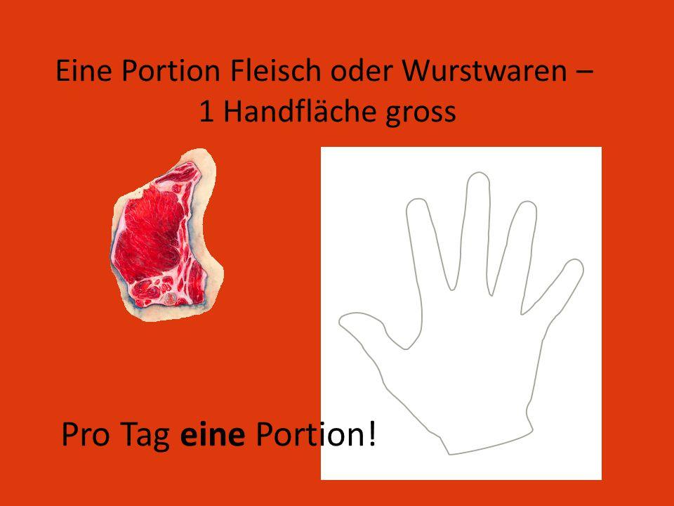 Eine Portion Fleisch oder Wurstwaren – 1 Handfläche gross Pro Tag eine Portion!