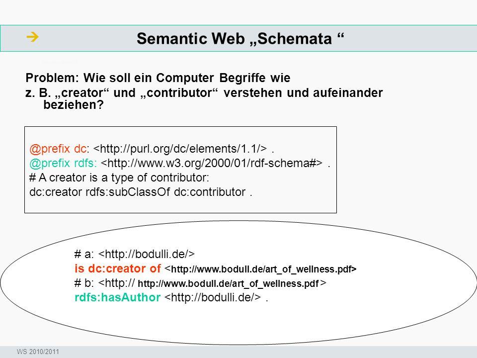 """Semantic Web """"Schemata """"  ArbeitsschritteW Seminar I-Prax: Inhaltserschließung visueller Medien, 5.10.2004 WS 2010/2011 Problem: Wie soll ein Compute"""
