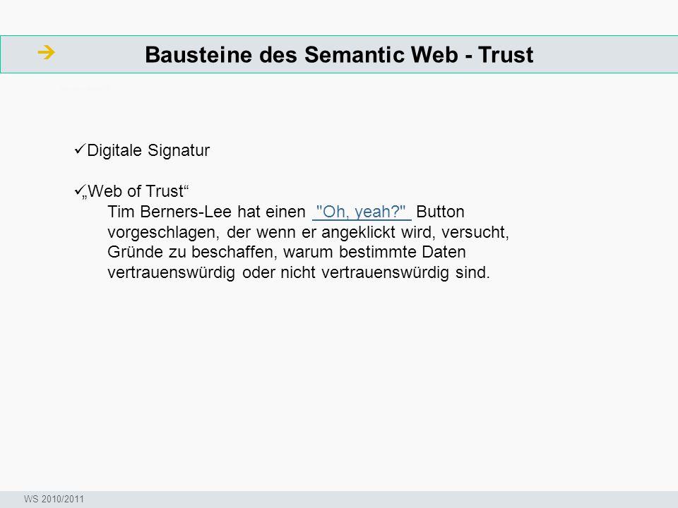 """Bausteine des Semantic Web - Trust  ArbeitsschritteW Seminar I-Prax: Inhaltserschließung visueller Medien, 5.10.2004 WS 2010/2011 Digitale Signatur """""""