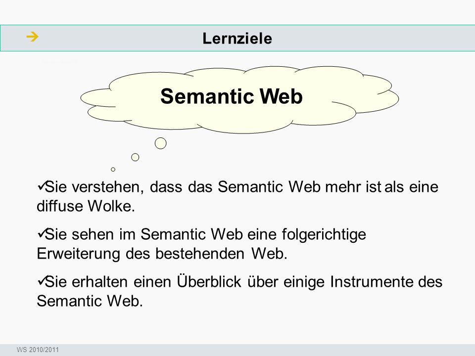Lernziele  ArbeitsschritteW Seminar I-Prax: Inhaltserschließung visueller Medien, 5.10.2004 WS 2010/2011 Semantic Web Sie verstehen, dass das Semanti