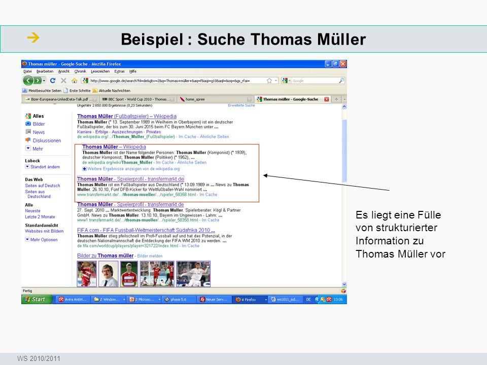 Beispiel : Suche Thomas Müller  ArbeitsschritteW Seminar I-Prax: Inhaltserschließung visueller Medien, 5.10.2004 WS 2010/2011 Es liegt eine Fülle von